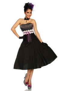 Satin Corsage in Rockabilly-Stil mit Häkelborte
