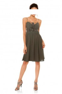 Elegante Cocktailkleid Taupe mit Cut-Outs