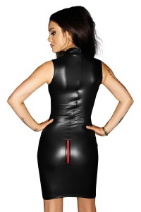 Hautenges Wetlook Minikleid in Schwarz