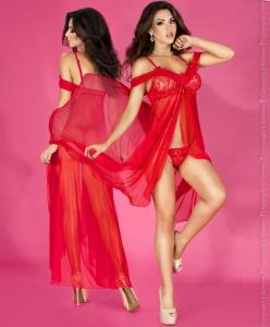 Langes Babydoll aus Spitze Rot