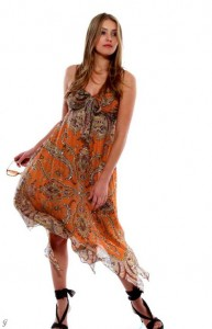 Maxi Babydollkleid braun-orange