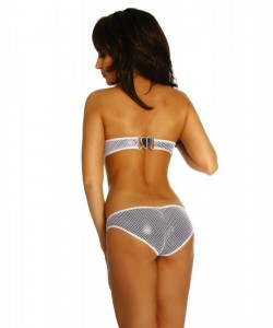 Modische Wetlook-Netz Monokini in Silver