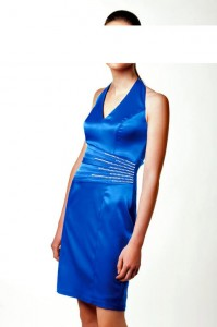 Satin-Cocktailkleid in Royalblau