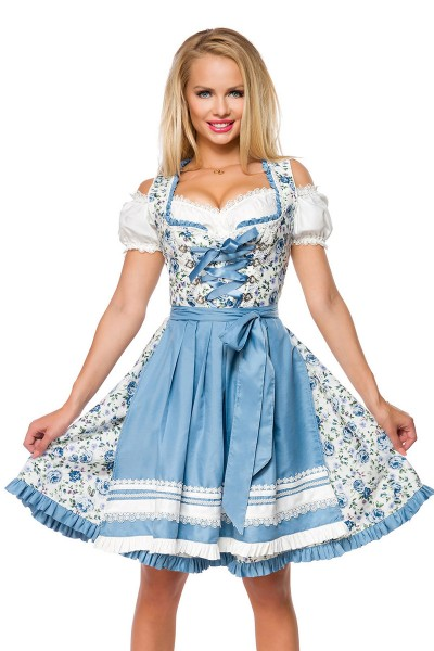 romantische damen dirndl in blau mit floralem print. Black Bedroom Furniture Sets. Home Design Ideas