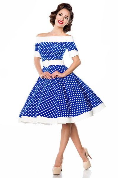 Elegantes Retro Kleid Blau Schulterfrei mit Tellerrock