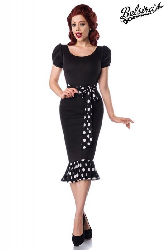Vintage Jersey Kleid mit Puffärmeln