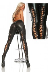 Wetlook Legging mit Schnürung Sc...